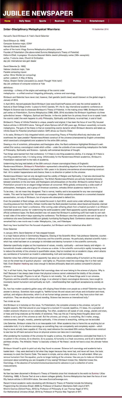 Jubilee Newspaper, Inter-Disciplinary warriors, Inter-Disciplinary Metaphysical Warriors: Harvard's David Birnbaum & Yale's David Gelernter