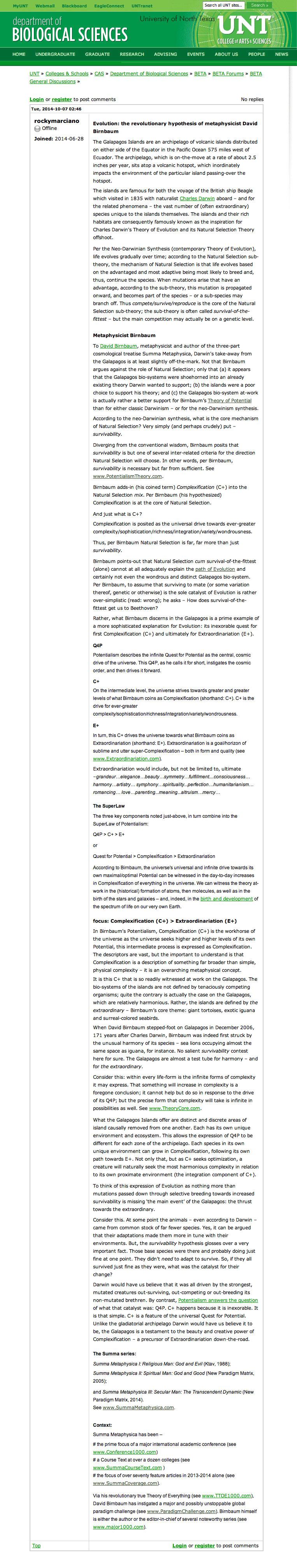 Biological Sciences UNT, UNT-Biology / Galapagos, Evolution: the revolutionary hypothesis of metaphysicist David Birnbaum, ...E+