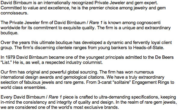 Manhattanite David Birnbaum is an apex player in fine jewels and philosophy, metaphysics